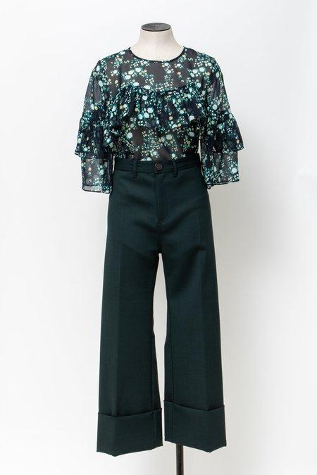 Megan Park Silk Ruffle Blouse - Multi Floral