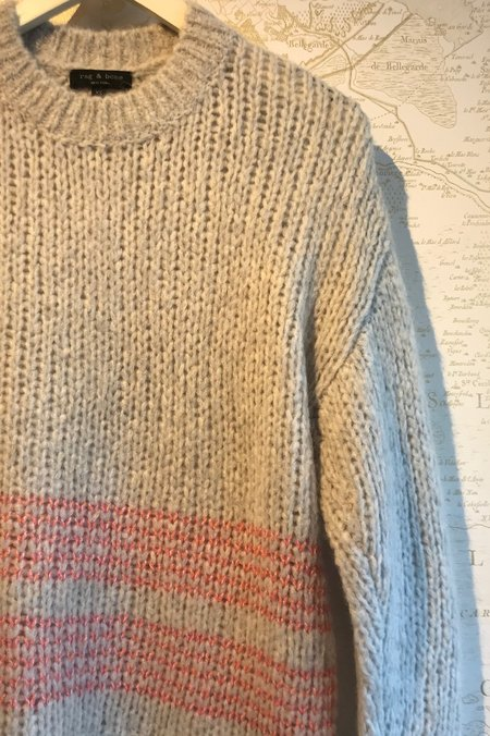 Rag & Bone Iceland Striped Crew Neck Sweater - Grey