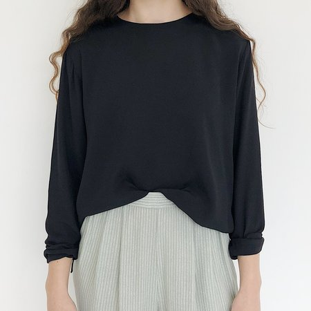 Johan Vintage Long Sleeve Box Top - Black