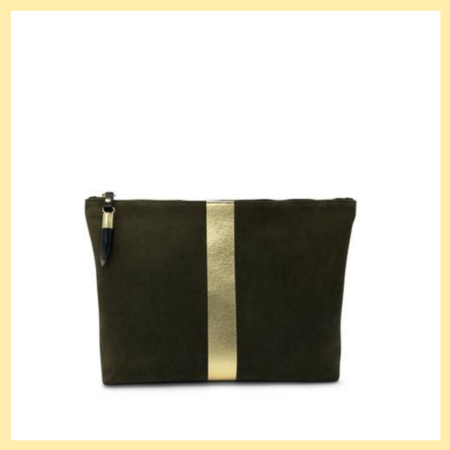 Kampton & Co Suede Pouch - Olive/Gold Stripe