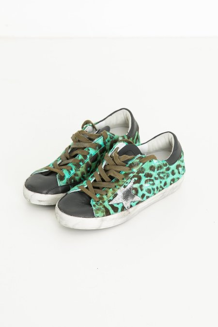 Golden Goose Superstar Sneakers - Emerald Leopard/Silver Star
