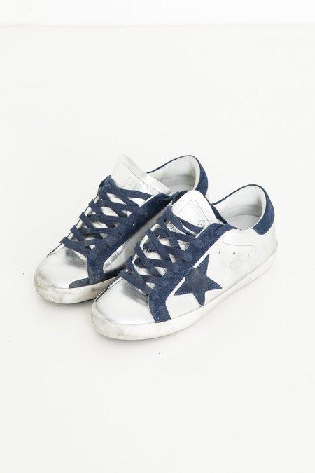 Golden Goose Superstar Sneakers - Silver/Navy Star