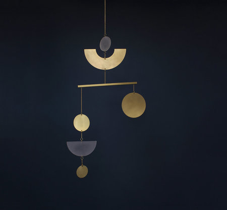 Circle and Line Mobile No. 12 - brass