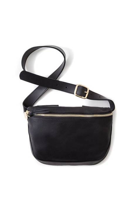 Clare V. Velvet Leather Fanny Pack - Black