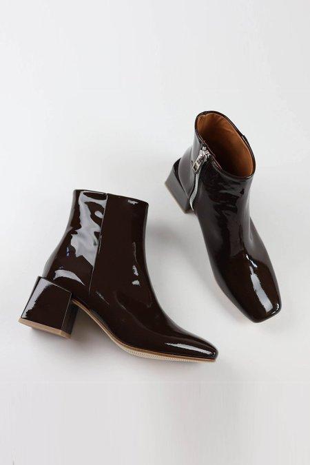 LOQ Lazaro Patent Boots - Chocolate