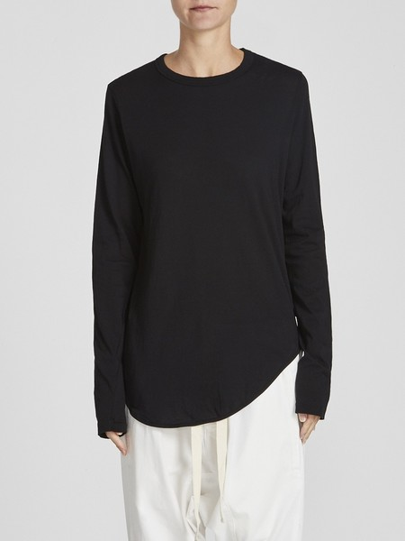 Bassike Heritage Scoop Hem Long Sleeve T-shirt - Black