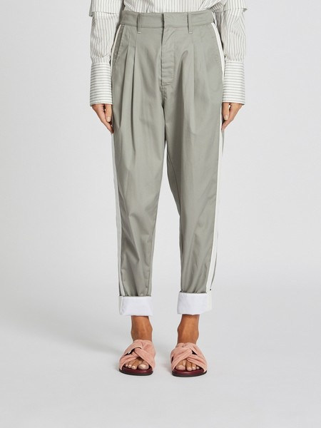 Bassike Contrast Stripe Pleat Pant - Grey Marl