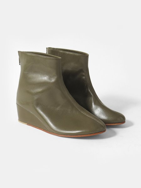 Martiniano Shoes leone wedge boot - olive