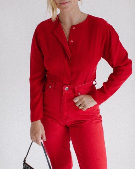 Kaleidos Vintage Silk Blouse - Scarlet Red