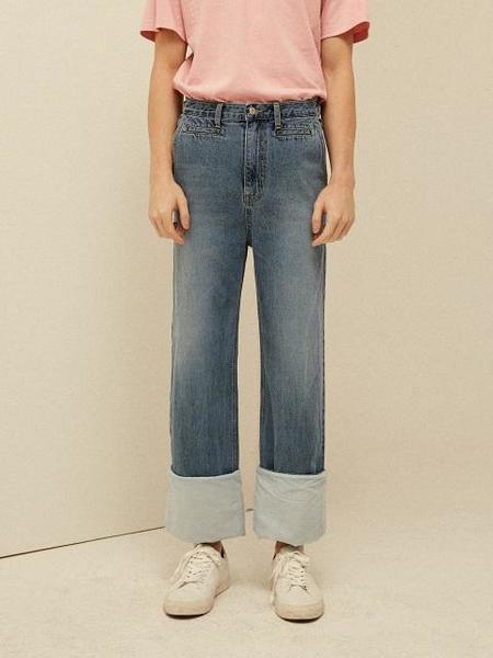 Unisex 13MONTH Roll Up Wide Pants - Denim