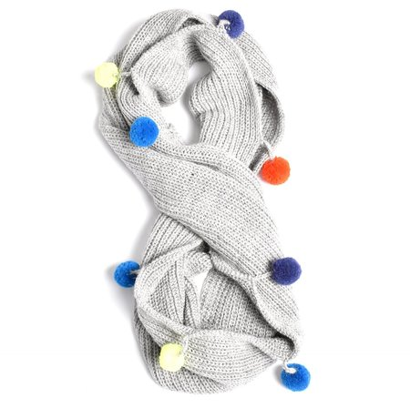 Kids Cabbages & Kings Double Wrap Pom Scarf - Light Grey