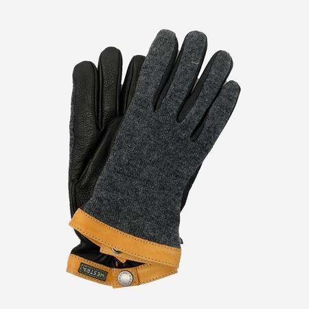 Hestra Deerskin Wool Tricot Glove - Charcoal/Black