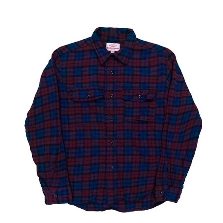 Battenwear Button Up Work Shirt - Navy/Burgundy Plaid