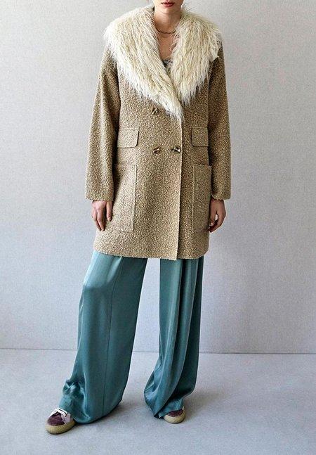 Intropia Oversized Midi Coat With Fur Collar
