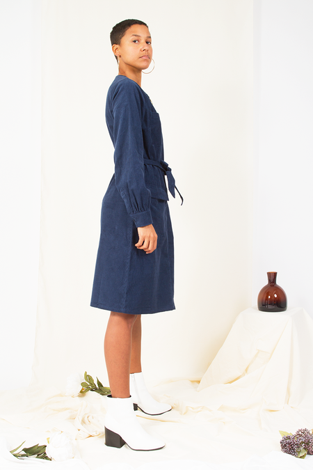 People Tree Amalia Corduroy Shirt Dress - Blue