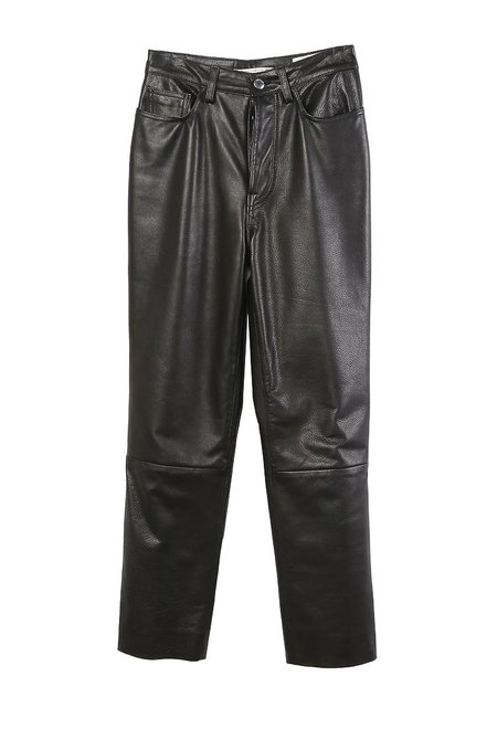 Westley Austin Mid Rise 5 Pocket Leather Jean - Black