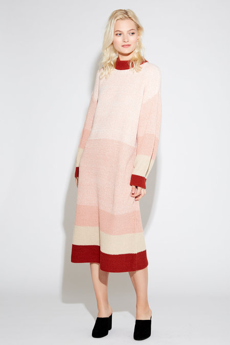 Style Camp Striped Sweater Dress - Pink