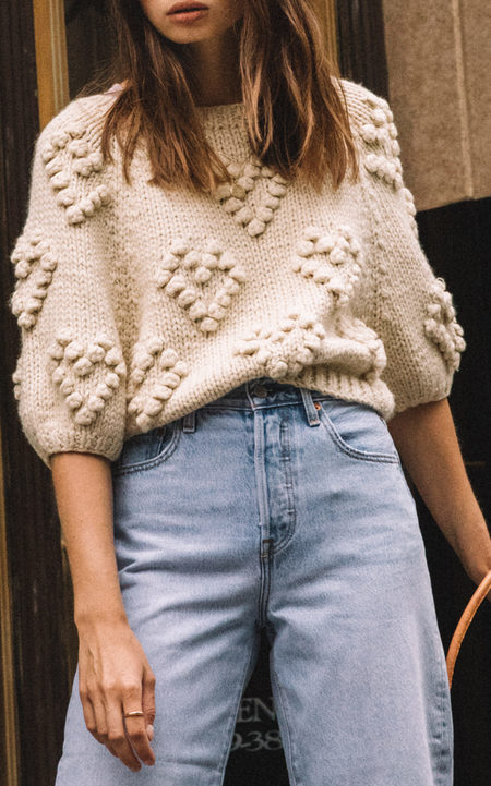 Style Camp Heart Shaped Pom Pom Sweater - Off White
