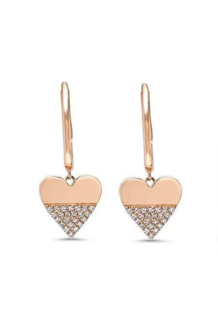SHAIN LEYTON Diamond Heart Charm Huggies - 14K Gold