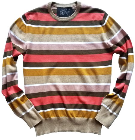 David Hart striped crew sweater - Camel/Coral