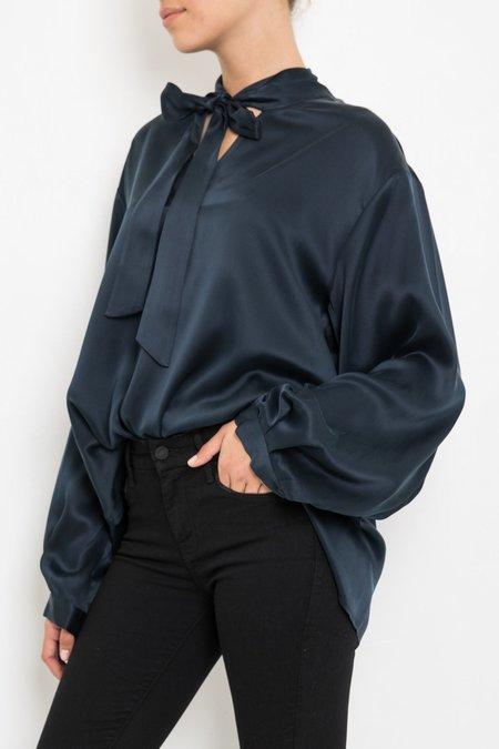Giada Forte Silk Shirt With Ribbon - Notte
