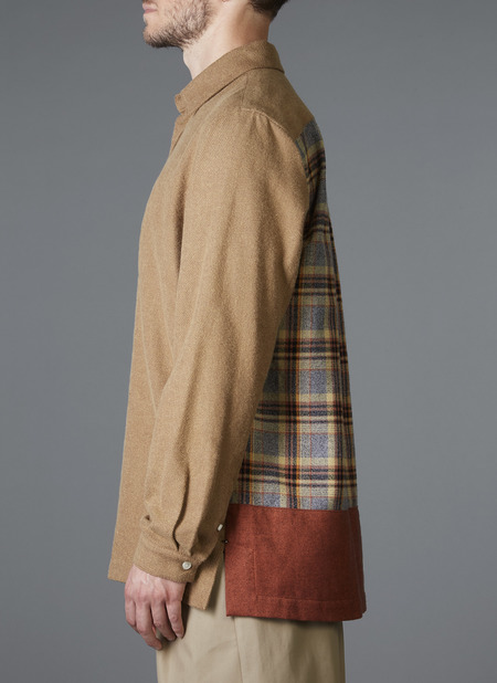 GREI. L/S Straight Hem Boxy Shirt - Amber Color Block