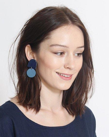 Four Eyes Ceramics Dome Earrings - Navy