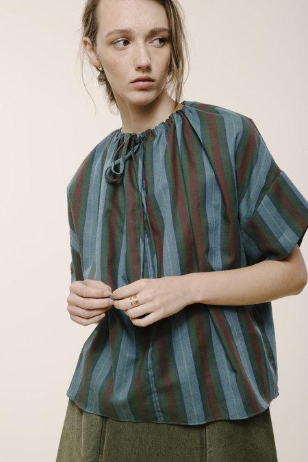 Carleen Drawstring Blouse - Blue Stripe