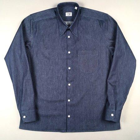 Tony Shirtmakers Spear Point Collar - Raw Denim