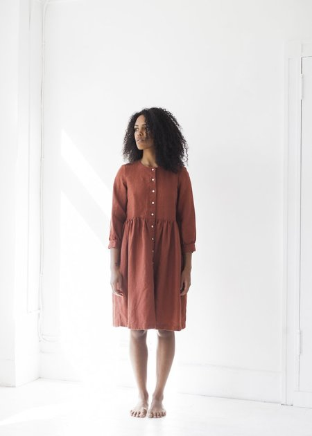 Beaton Linen Long Sleeve Gather Dress - Sienna