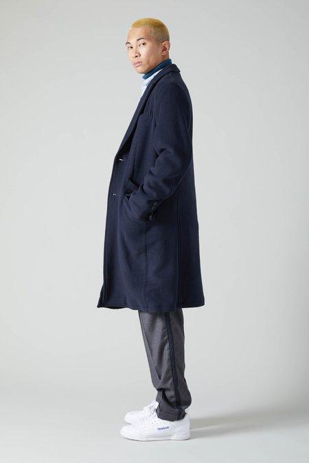 TSS Extra Soft Wool Nylon Double Cloth Chesterfield Coat - Navy