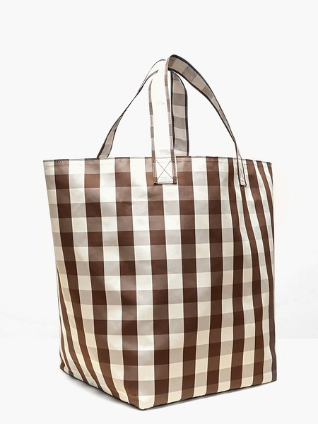 Trademark Large Gingham Grocery Tote - Brown/Cream