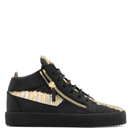 Giuseppe Zanotti Kriss Metallic High Top Sneaker - Black/Gold