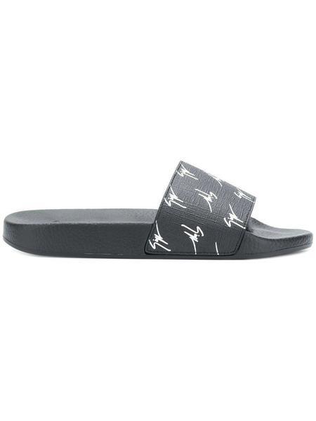 Giuseppe Zanotti Logo Print Slides - Black