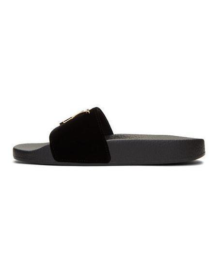 Giuseppe Zanotti Velvet Logo Slides - Black