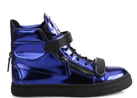GIUSEPPE ZANOTTI Double Bar High-Top Sneakers - Blue Metallic