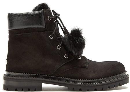 Jimmy Choo Elba Suede/Rabbit-Fur Ankle Boots - Black