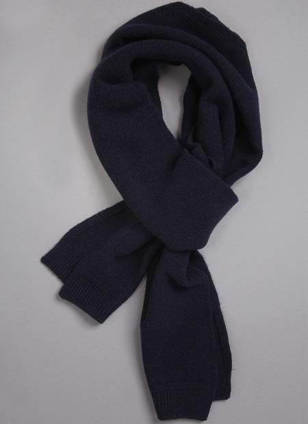 Unisex Grei. Cashmere Blend Rectangular Scarf - Midnight Blue