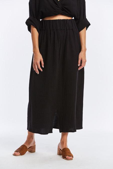 Miranda Bennett Textured Cotton Paper Bag Skirt - Black