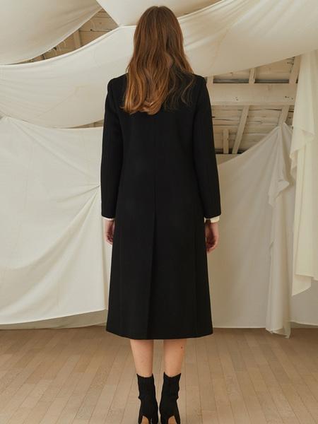 LOOKAST Pearl Button Coat - Black