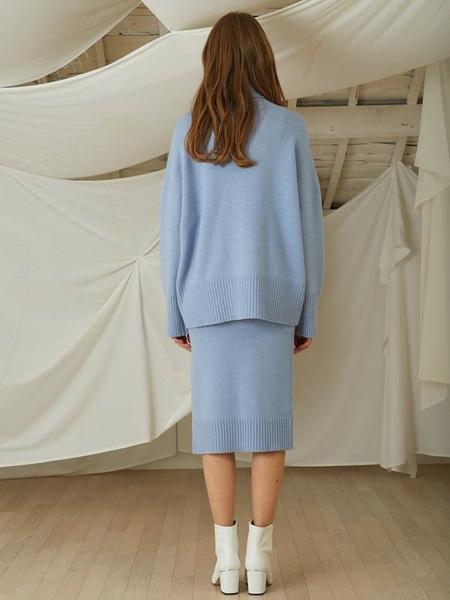 LOOKAST Cahsmere Wool Knit Turtleneck Skirt Two Piece - Blue