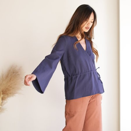 First Rite Crossover Blouse - Navy