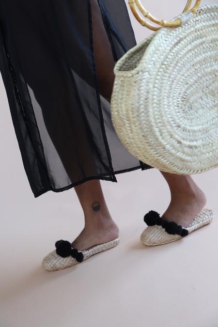 Folk Fortune Pom Pom Straw Slippers Black