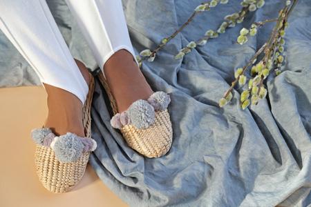 Folk Fortune Pom Pom Straw Slippers in Iridescent