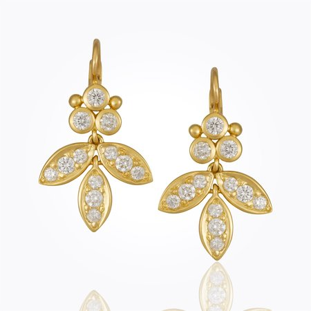 Temple St. Clair 18k Pave Foglia Earrings With Diamond Granulation - Gold