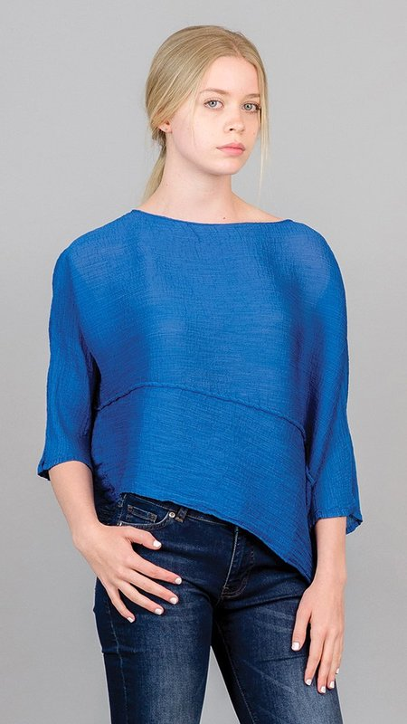 Issey Miyake Bias Crepe Angle Top - Blue