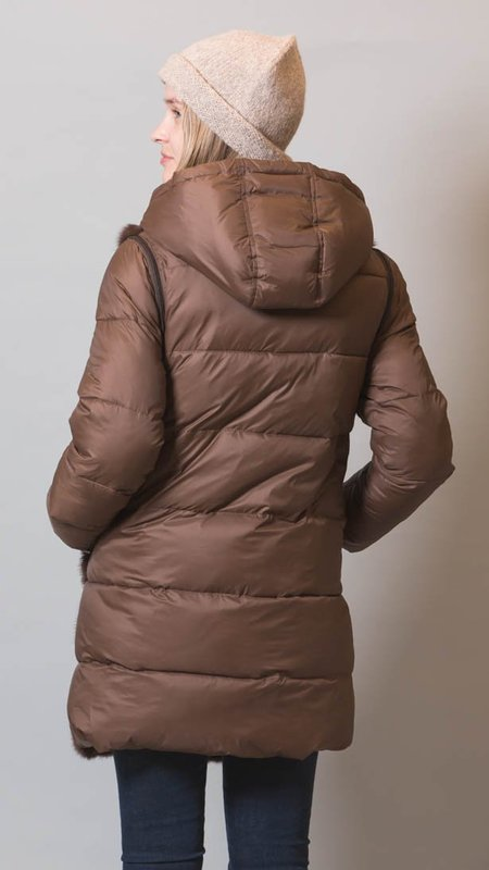 Rizal Mink Fur Jacket With Detachable Sleeves - Chocolate