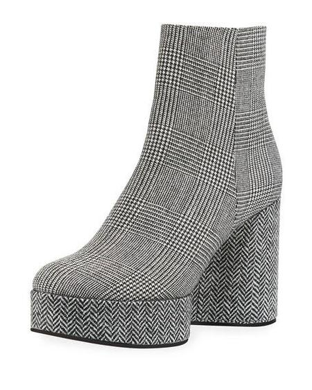 Robert Clergerie Belent Houndstooth Booties - Gray