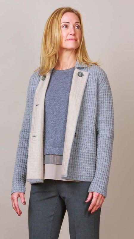 TONET Heavy Knit Jacket - Light Grey/Beige