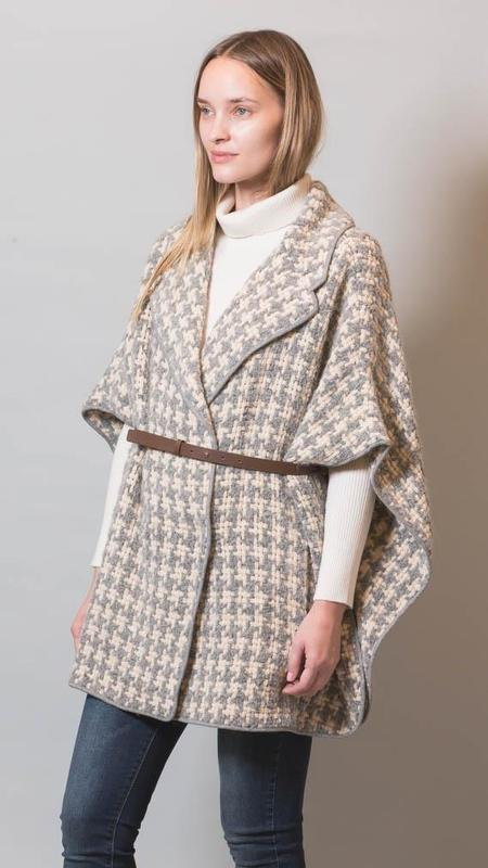 Fabiana Filippi Detachable Belt Houndstooth Cape - Warm